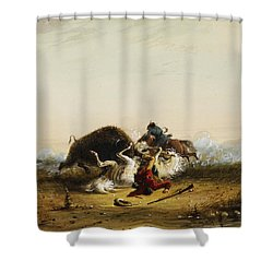 Pierre And The Buffalo Shower Curtain by Alfred Jacob Miller