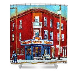 Pierrette Patates Restaurant - Paintings Of Verdun - Verdun Winter Scenes -verdun Hockey Scenes Shower Curtain by Carole Spandau