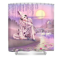 Pierrot & Swans Shower Curtain by Andrew Farley