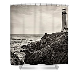 Pigeon Point Light Shower Curtain by Heather Applegate