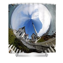 Pigeon Point Lighthouse Polar View Shower Curtain