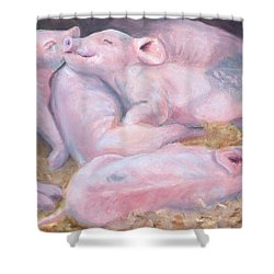 Piglets At Peace Shower Curtain by Deborah Butts