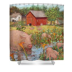 Pigs And Lilies Shower Curtain