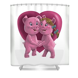 Pigs In Love Shower Curtain by Martin Davey
