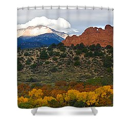 Shower Curtain featuring the photograph Pikes Peak Fall Pano by Ronda Kimbrow