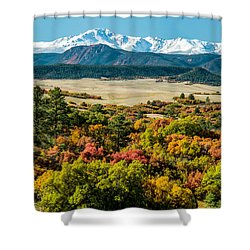 Pikes Peak Over Scrub Oak Shower Curtain
