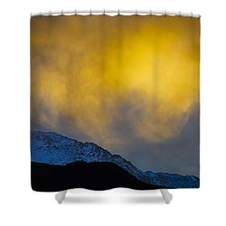 Pike's Peak Snow At Sunset Shower Curtain