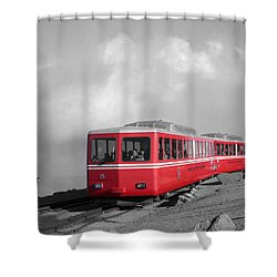 Pikes Peak Train Shower Curtain by Shane Bechler