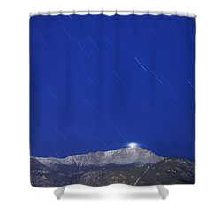 Pikes Peak Under The Stars Shower Curtain by Darren  White