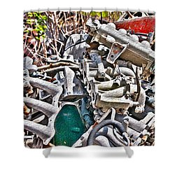 Piles Of Engines - Automotive Recycling Shower Curtain by Crystal Harman