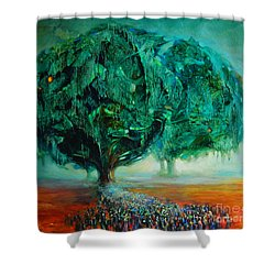 Pilgrimage Shower Curtain by Michal Kwarciak