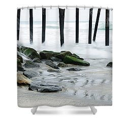 Pilings At Oceanside Shower Curtain by Vivian Christopher