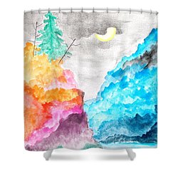 Pilipinas Mountain Moon Shower Curtain by Pg Reproductions