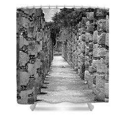 Shower Curtain featuring the digital art Pillars In A Row by Kirt Tisdale
