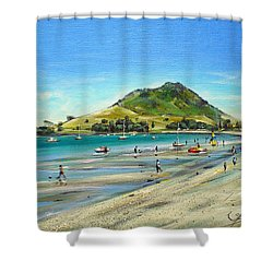 Pilot Bay Mt M 050110 Shower Curtain by Sylvia Kula