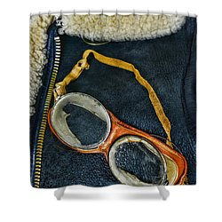 Pilot - Vintage Aviation Goggles Shower Curtain by Paul Ward