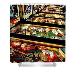 Pinball Arcade Shower Curtain by Benjamin Yeager