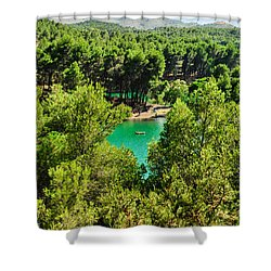 Pine Forests With Mountainous Backdrops Surround Turquoise Lakes Shower Curtain by Tetyana Kokhanets