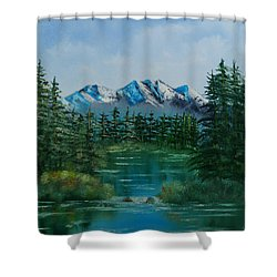 Shower Curtain featuring the painting Pine Lake by Chris Fraser