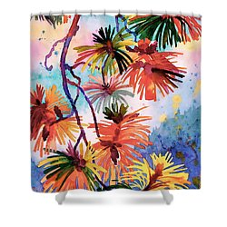 Pine Needle Fireworks Shower Curtain by Dianne Bersea