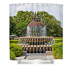 Shower Curtain featuring the photograph Pineapple Fountain In Waterfront Park by Jean Haynes