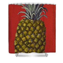 Pineapple On Red Shower Curtain by Darice Machel McGuire