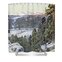 Pines In Winter Shower Curtain by George Gardner Symons