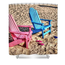 Pink And Blue Beach Chairs With Matching Flip Flops Shower Curtain