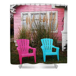 Pink And Blue Chairs By Jan Marvin Shower Curtain
