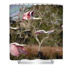 Pink And Feathers Shower Curtain