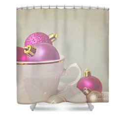 Pink And Gold Christmas Baubles In China Cup. Shower Curtain