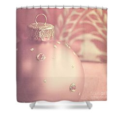 Pink And Gold Ornate Christmas Bauble Shower Curtain