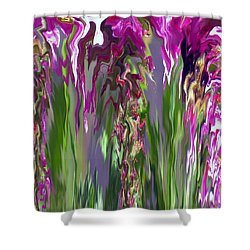 Pink And Green Floral Shower Curtain by Cedric Hampton