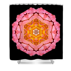 Shower Curtain featuring the photograph Pink And Orange Rose I Flower Mandala by David J Bookbinder