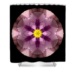 Shower Curtain featuring the photograph Pink And Purple Pansy Flower Mandala by David J Bookbinder