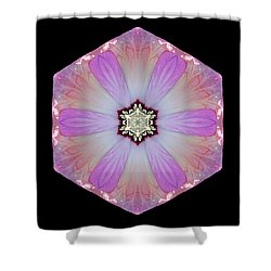 Shower Curtain featuring the photograph Pink And White Hibiscus Moscheutos I Flower Mandala by David J Bookbinder