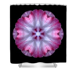 Pink And White Impatiens Flower Mandala Shower Curtain