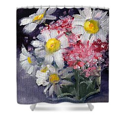 Pink And White Shower Curtain by Nancy Merkle