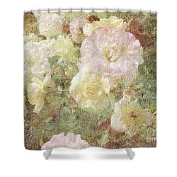 Pink And White Roses With Tapestry Look Shower Curtain