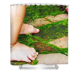 Pink Ball Shower Curtain by Valerie Reeves