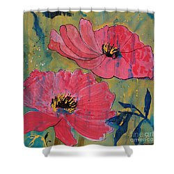Shower Curtain featuring the painting Pink Blossoms by Robin Maria Pedrero
