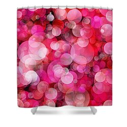 Pink Bubbles Shower Curtain by Susan Schroeder