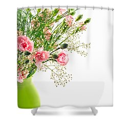 Pink Carnation Flowers Shower Curtain by Vizual Studio