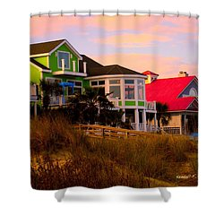 Pink Clouds At Isle Of Palms Shower Curtain by Kendall Kessler