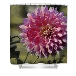 Shower Curtain featuring the painting Pink Dahlia by Jeff Kolker