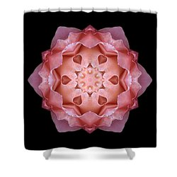 Pink Fall Rose Flower Mandala Shower Curtain