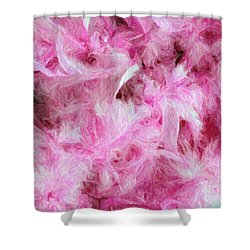Pink Feathers In Digital Oil Impasto Shower Curtain