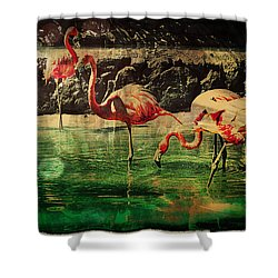 Shower Curtain featuring the digital art Pink Flamingos - Shangri-la by Absinthe Art By Michelle LeAnn Scott