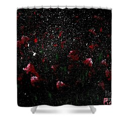 Pink Flowers In Twilight Shower Curtain by Becky Lupe