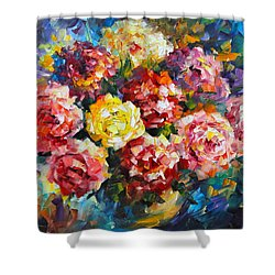 Pink Flowers Shower Curtain by Leonid Afremov